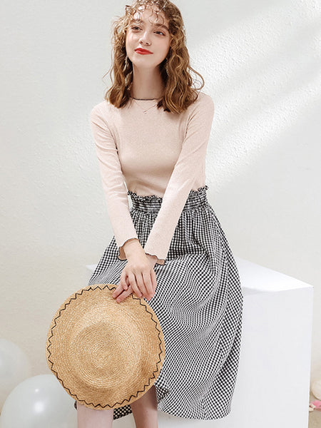 Knit Ruffles Patchwork Long Sleeve Skater Dress
