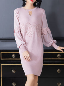 Loose Puff Sleeve Lace Patchwork Shift Dress