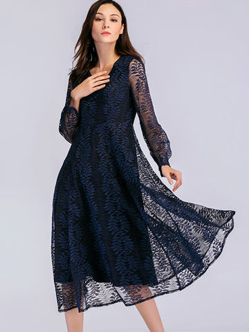 Hollow Out Big Hem Patchwork Lace Skater Dress