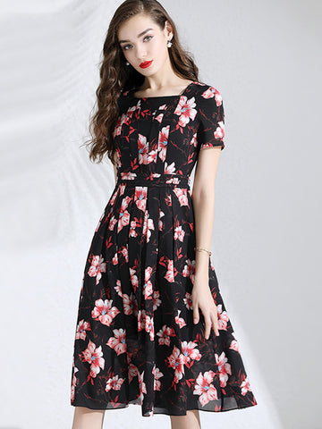 Square Neck Ruffles Big Hem Print Skater Dress