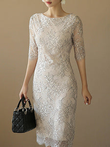 Lace Half Sleeve Patchwork White Bodycon Dress