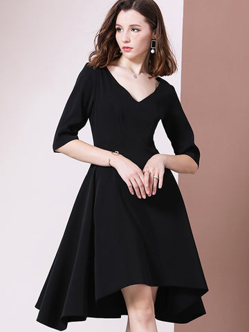 High Waist Asymmetric Big Hem Skater Dress