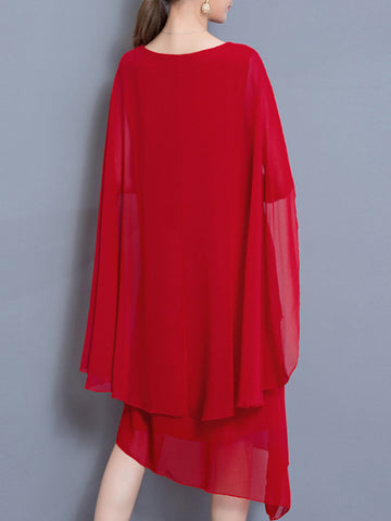 Asymmetric Solid Color Cloak Chiffon Shift Dress
