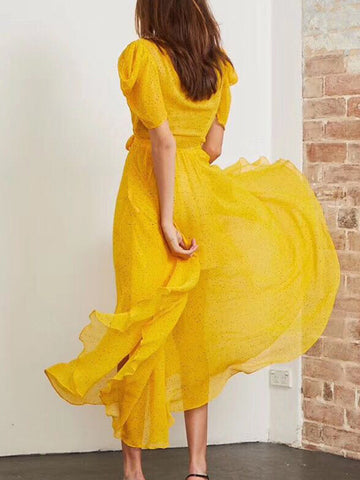 Yellow Floral Print Asymmetric Lace-Up Skater Dress