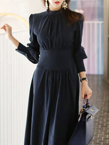 Work Gathered Waist Stand Collar Ruffles Skater Dress