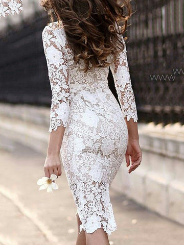 Sheath Lace Long Sleeve White Bodycon Dress