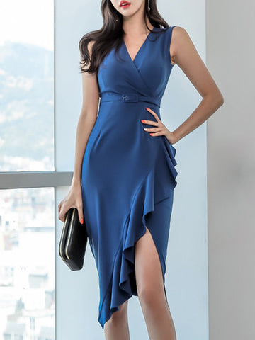 High Waist Sashes Asymmetric Mermaid Bodycon Dress