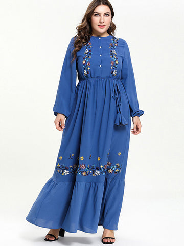 Oversize Lace-Up Embroidery Tassels Maxi Dress