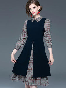 High Waist Layerd-Look Patchwork Skater Dress