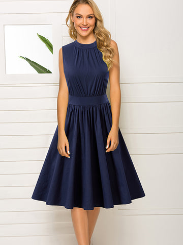 Pure Cotton Ruffles O-Neck Party Skater Dress