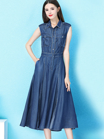 Slim Turn-Down Collar Pocket Denim Skater Dress