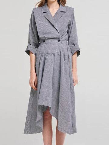 Asymmetric Button Lapel Collar Grey Skater Dress