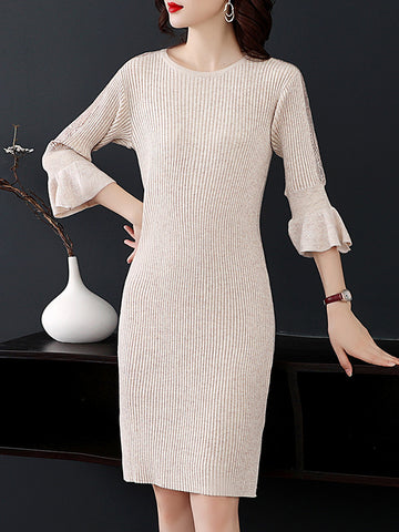 Flare Sleeve Slit Knit Casual Sweater Dress