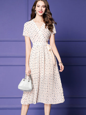 Polka Dot Gathered Waist Lace-Up Skater Dress