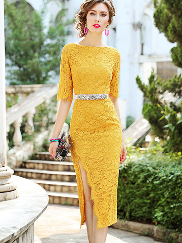 Slit Lace High Waist Patchwork Bodycon Dress (Without Belt)