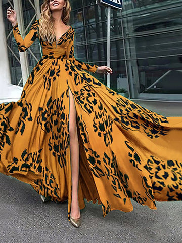 Deep V-Neck Long Sleeve Big Hem Maxi Dress