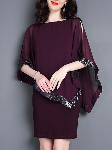 Sequins Dolman Sleeve O-Neck Bodycon Dress