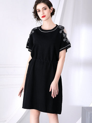 Vintage Embroidery Patchwork Black Sweater Dress