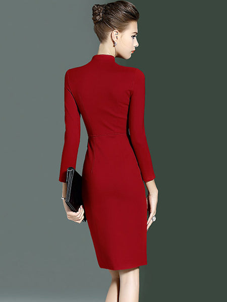 Work Simple Red Slim Sheath Bodycon Dress