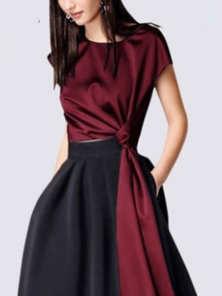 Casual Fashion Solid Color A-line Two Piece Dress