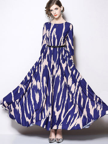 Big Hem Vintage Print O-Neck Maxi Dress