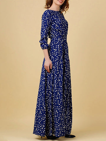 Vintage Floral Dress Elegant Pocket Maxi Dress
