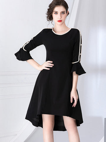 Pearl Beaded O-Neck Asymmetric Flare Sleeve Skater Dress