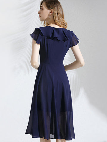 V-Neck Falbala Chiffon Ruffled Pure Color Skater Dress