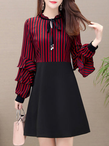 Stripe Puff Sleeve Bow Tie Stitching Shift Dress