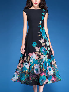 Elegant Print Floral Chiffon Gathered Waist Skater Dress
