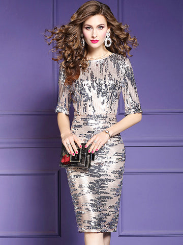 O-Neck Paillette Half Sleeve Print  Bodycon Dress