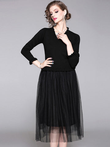 Fashion Falbala Stitching Mesh V-Neck Sweater Dress