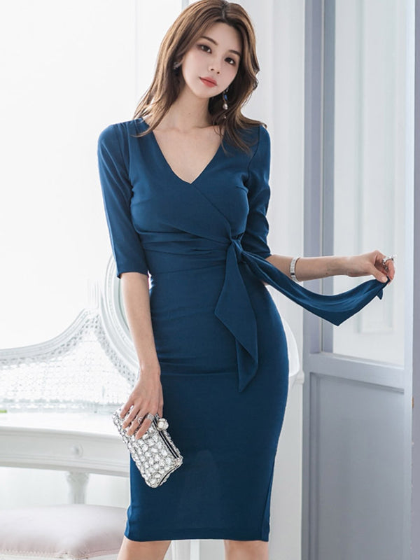 Deep V-Neck Pure Color Slit Lacing Bodycon Dress