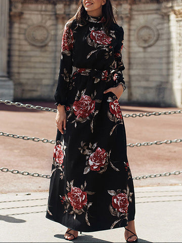 Stand Collar Print Floral Gathered Waist Maxi Dress