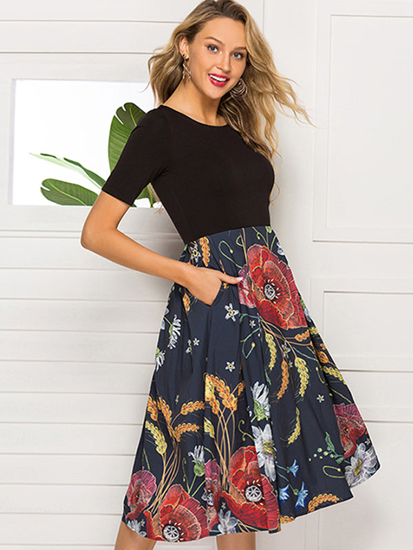 O-Neck Stitching Print Floral Skater Dress