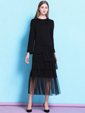 Pure Color Stitching Mesh Ruffled Sweater Dress