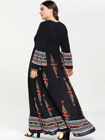 Oversize Big Hem Embroidery Print Stitching Maxi Dress