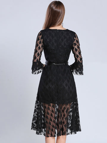 Hollow Out Lace Print Mesh Stitching Skater Dress
