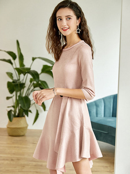 O-Neck Stitching Belted Irregular Falbala Skater Dress