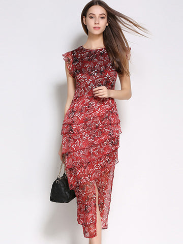 Irregular Falbala Tiered Floral Print Slit Chiffon Maxi Dress