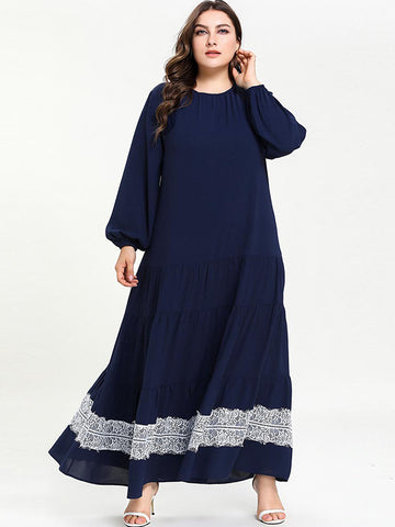 Oversize Pleated Stitching Lace Print Maxi Dress
