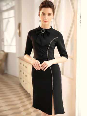 Elegant Bowknot Tie Beaded Slit Half Sleeve Bodycon Dress