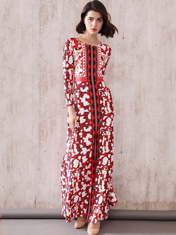 Stitching Ethnic Print Floral O-Neck Long Sleeve Shift Maxi Dress