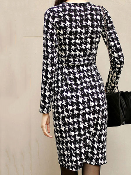 Tweed V-Neck Gathered Waist Houndstooth Bodycon Dress