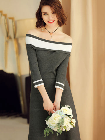 Simple Boat Neck Stitching Hit Color knit Sweater Dress
