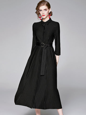Suave Stand Collar Stripe Stitching Belted Big Hem Maxi Dress