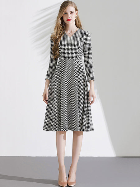 Stylish Houndstooth Floral all-match Gathered Waist Skater Dress