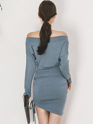 Sexy Lacing drawstring Pleated Asymmetric Bodycon Dress