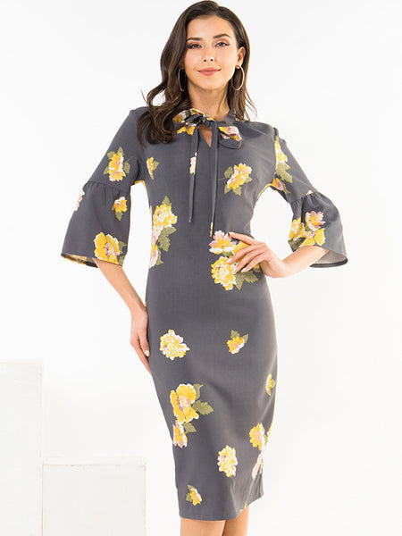 Bowknot Lacing Tie Flare Sleeve Print Floral Bodycon Dress