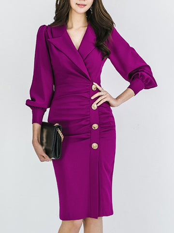 Work Lapel Collar Single Breasted Pleated Bodycon Dress